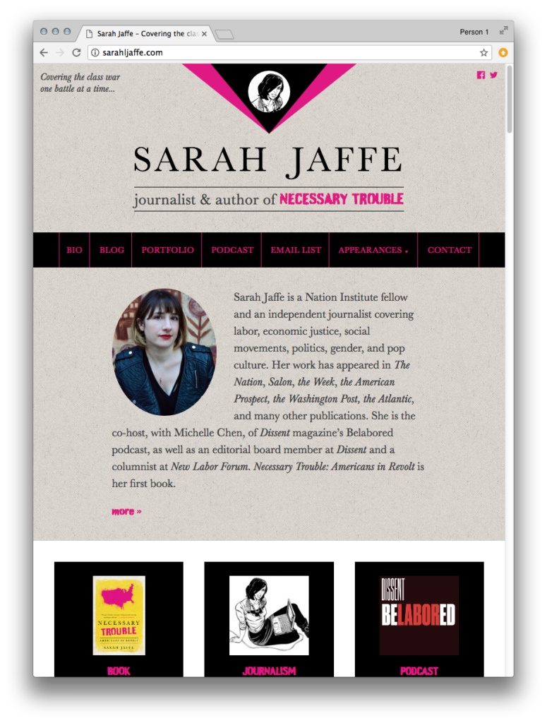 Screenshot, sarahljaffe.com