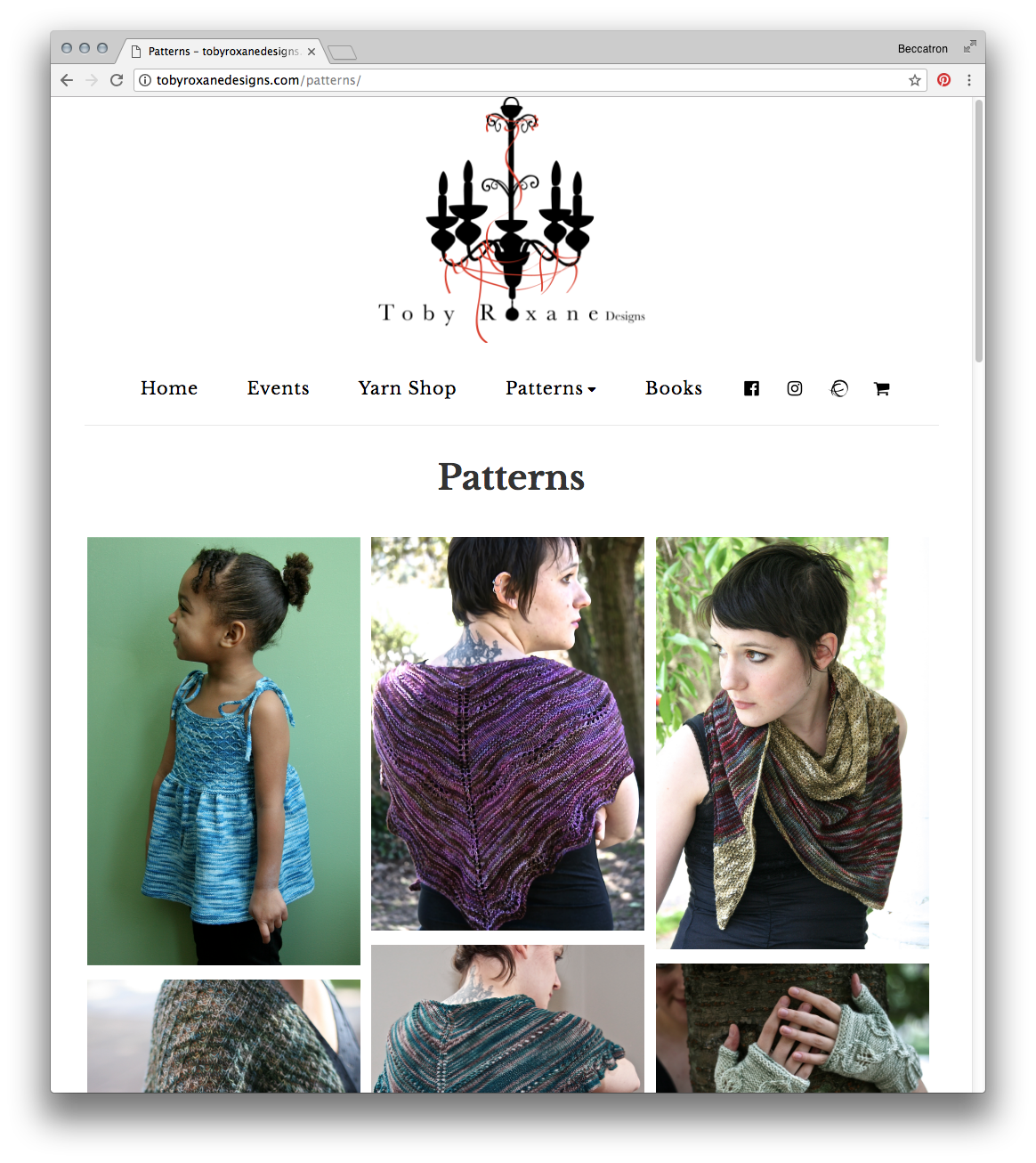 Screenshot, patterns page
