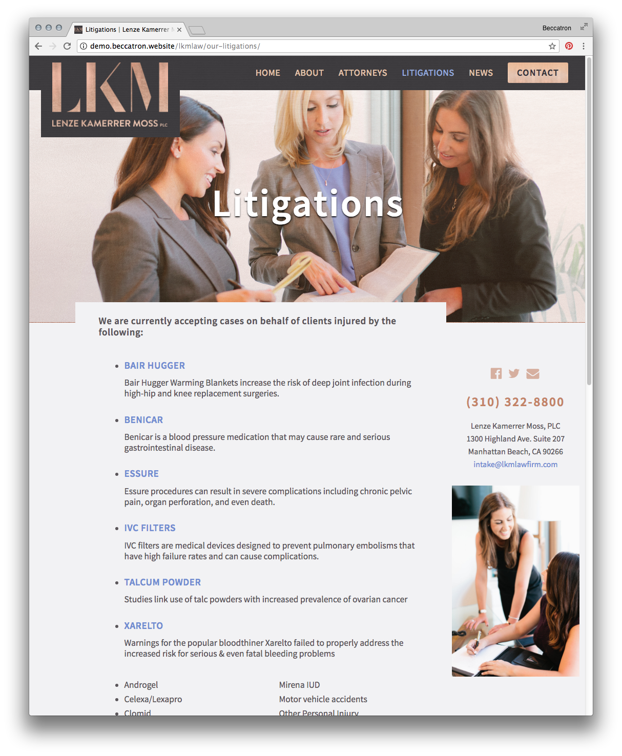 Litigations Page Screenshot