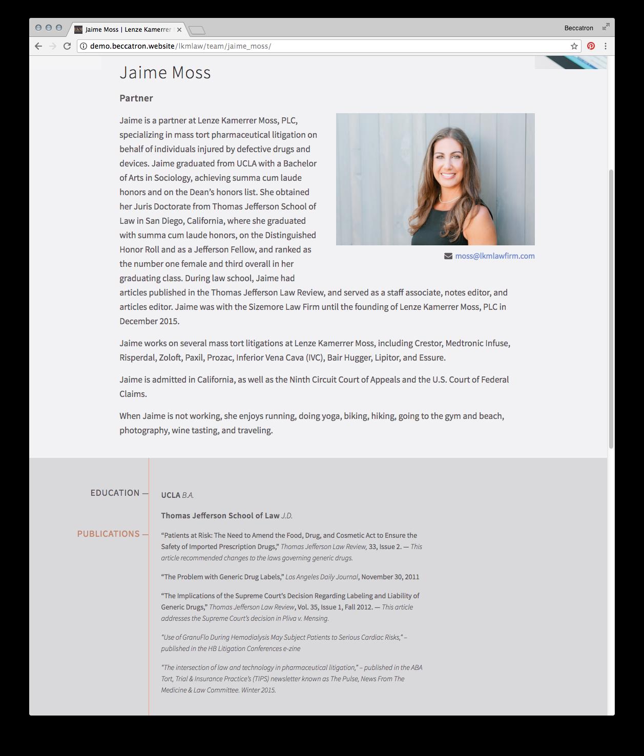 Attorney Bio Page Screenshot